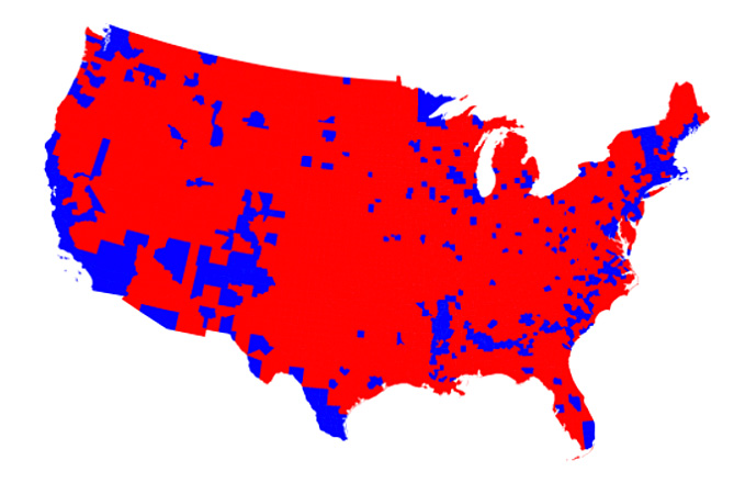 Electoral College by counties 2016
